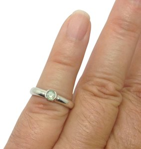 Tiffany & Co. Sterling Silver, Aquamarine, Solitaire, Stacking designer ring