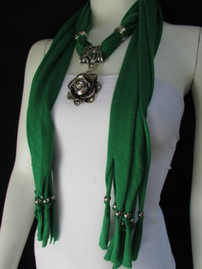 Other Women Fashion Soft Fabric Green Scarf Long Necklace Big Metal Flower Pendant