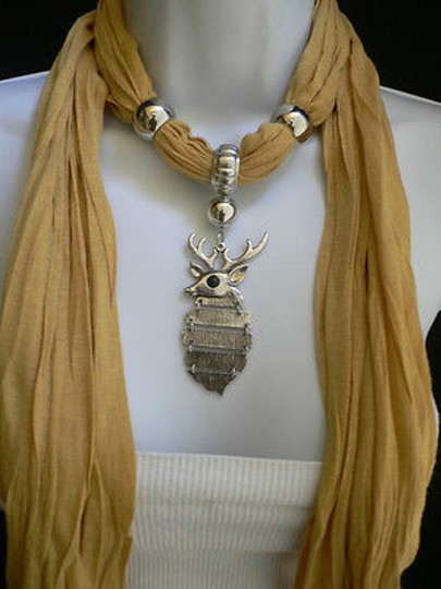Other Women Mustard Fashion Soft Scarf Necklace Silver Big Metal Deer Pendant