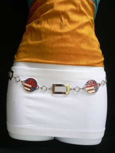 Other Women Hip Waist Silver Red Blue Usa Flag Round Metal Fashion Belt