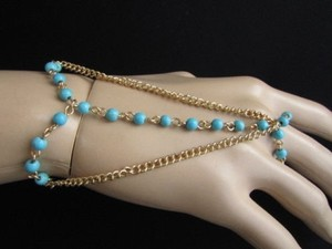 Women Gold Metal Hand Chain Fashion Jewelry Bracelet Turquoise Beads
