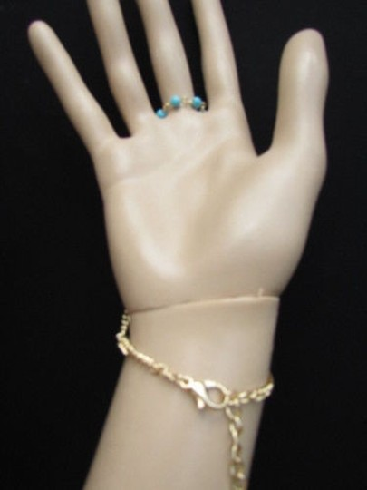 Other Women Gold Metal Hand Chain Fashion Jewelry Bracelet Turquoise Beads