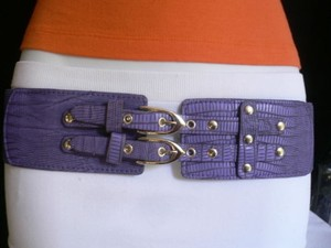 Other Women Elastic Hip Waist Purple Western Belt Double Buckles 28-36