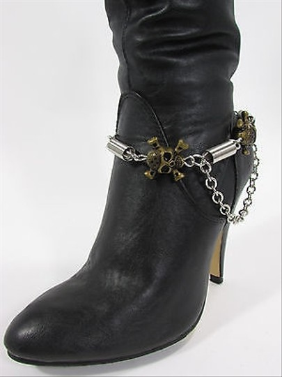 Other Women Biker Fashion Boot Chain Bracelet Strap Gold Metal Spikes Shoe Charm