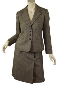 Talbots Brown Houndstooth Wool Flannel Jacket & Faux Wrap Skirt Suit