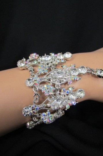 Other Women Silver Metal Hand Chain Wide Fashion Jewelry Bracelet Big Rhinestones