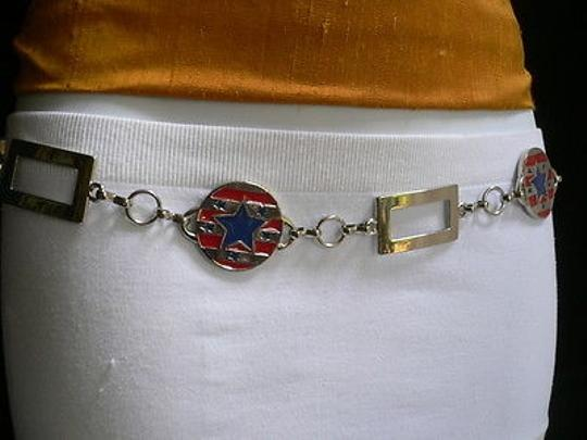 Other Women Hip Silver Red Blue Usa Flag Round Metal Belt 23-38
