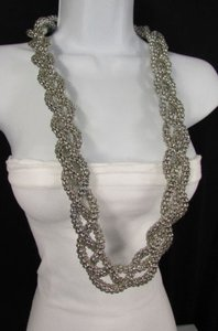 Women Silver Chunky Metal Braided Thick Strands Chains Long Fashion Necklace