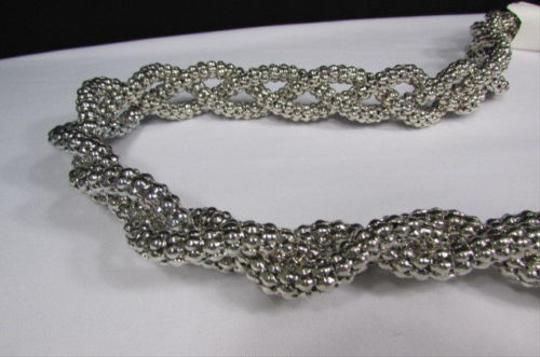 Other Women Silver Chunky Braided Strands Long Fashion Necklace