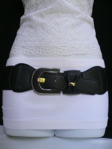 Women Elastic Hip Waist Black Fashion Belt Bow Silver Buckle 28-36