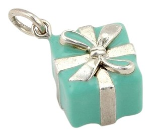Tiffany & Co. Tiffany & Co. Sterling Silver Blue Gift Box With Bow Charm