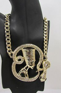Women Gold Metal Chain Fashion Necklace Big Egyptian Queen Snake Pendant