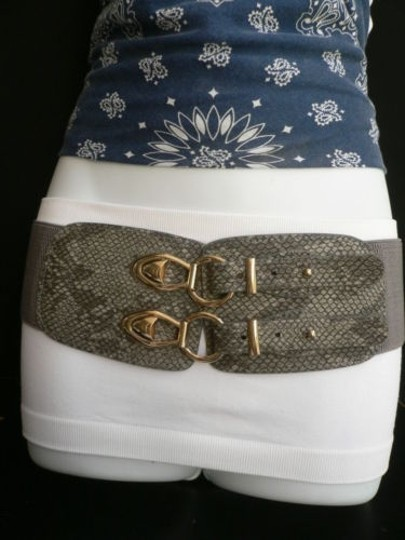 Other Women Hip Waist Elastic Gray Faux Snake Skin Hot Fashion Belt 29-40