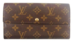 Louis Vuitton Monogram Canvas Leather Sarah Clutch Long Wallet Spain
