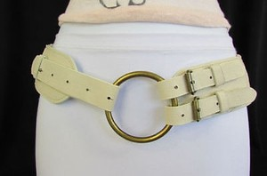 Other Women Moroccan Rusty Gold Buckle Braided Off White Belt