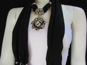 Other Women Fashion Soft Fabric Black Scarf Long Necklace Big Metal Flower Pendant