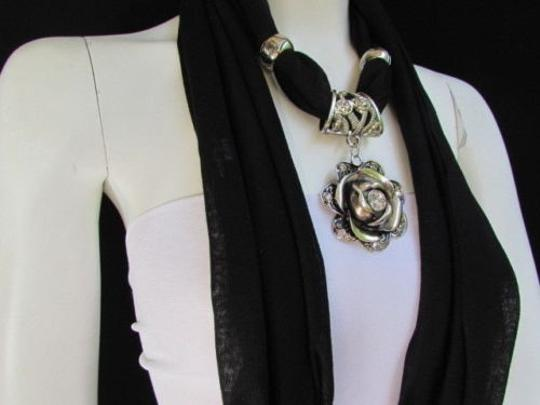 Other Women Soft Fabric Black Scarf Long Necklace Big Metal Flower