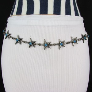 Other Women Hip Waist Silver Metal Chain Texas Star Fashion Belt Blue Turquoise