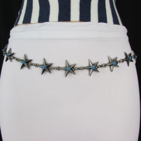Other Women Silver Metal Chain Texas Star Belt Blue Turquoise