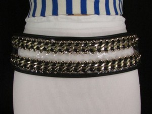 Other Women Hip Waist Gold Metal Chains Elastic Black Belt Plus 34-44