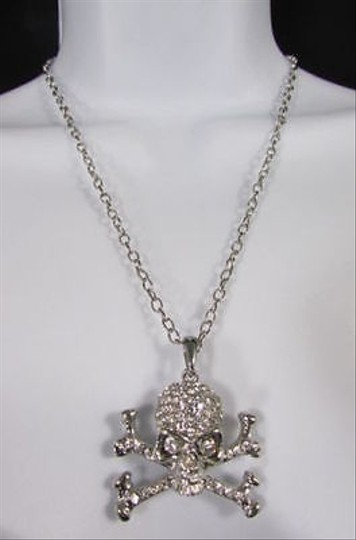 Other Women Silver Skeleton Skull Face Thin Chain Necklace Rhinestones