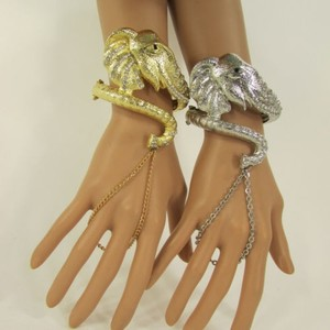 Other Women Fashion Big Elephant Cuff Bracelet Hand Chain Slave Ring Silver Gold
