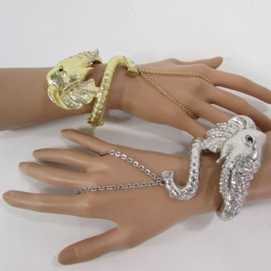 Other Women Big Elephant Cuff Bracelet Hand Chain Slave Ring Silver or Gold