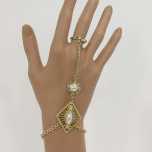 Women Gold Metal Hand Chain Fashion Bracelet Imitation Pearl Bead Slave Ring