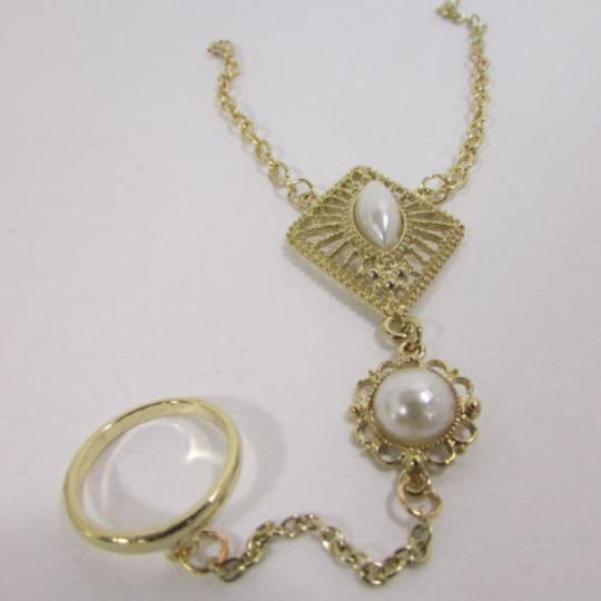 Other Women Gold Metal Hand Chain Bracelet Imitation Pearl Ring