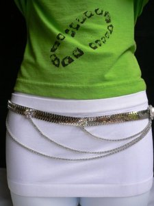 Other Women Silver Metal Waves Hip Multi Chains Thin Fashion Belt 28-35 S-m-l