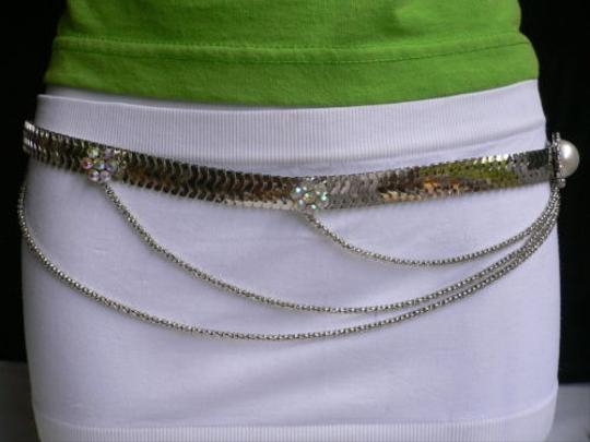 Other Women Silver Metal Waves Hip Multi Chains Thin Fashion Belt