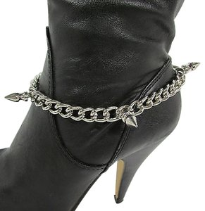 Other Women Boots Chain Bracelet Strap Silver Metal Shoe Mini Spikes Charm