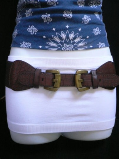 Other Women Hip Waist Elastic Brown Faux Leather Fashion Belt Buckles 26-33