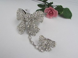 Other Women Silver Metal Hands Chain Big Bow Rhinestones