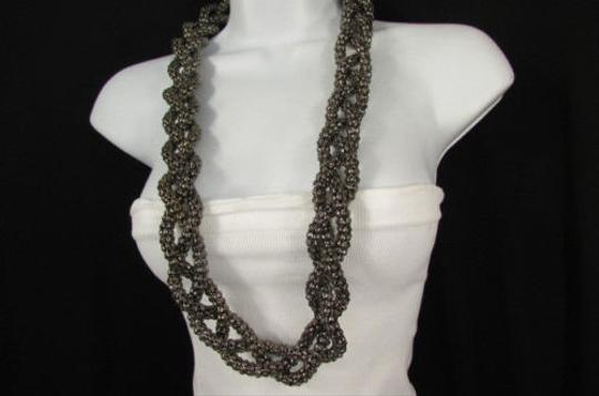 Other Women Pewter Chunky Metal Braided Thick Strands Chains Long Fashion Necklace