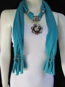 Other Women Fashion Soft Fabric Aqua Blue Scarf Long Necklace Big Metal Flower Pendant