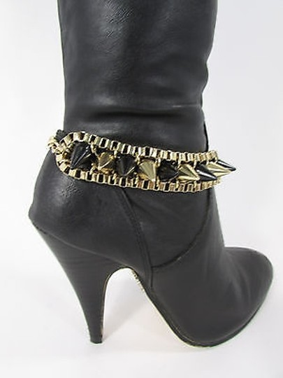 Other Women Biker Boot Chain Bracelet Strap Gold Metal Spikes