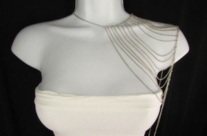 Other Women Silver Multi Layers Metal Shoulder Body Harness Jewelry