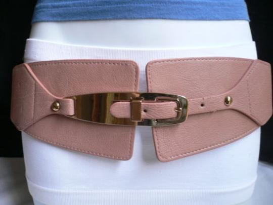 Other Women Elastic Western Pink Wide Fashion Belt Metal Long Buckle 28-36