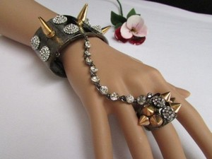 Other Women Pewter Metal Hand Chain Multi Gold Spikes Rhinestones Slave Bracelet Ring