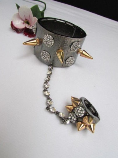 Other Women Pewter Metal Hand Chain Multi Gold Spikes Rhinestones