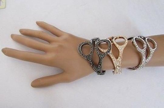 Other Women Bracelet Scissors Jewelry Rhinestones Gold Silver Pewter