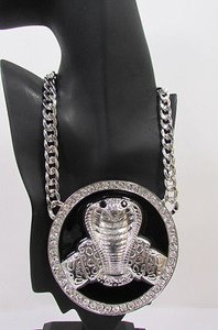 Other Women Silver Metal Chain Fashion Necklace Big Cobra Snake Round Pendant Huge