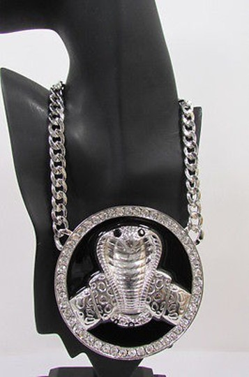 Other Women Silver Necklace Big Cobra Snake Round Pendant Huge