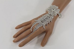 Women Silver Metal Hand Chain Rhinestones Flower Fashion Slave Bracelet Ring