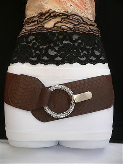 Other Women Elastic Brown Faux Leather Fashion Belt Chain Ring Buckle