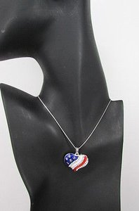 Other Women Silver Metal Chain Fashion Necklace American Flag Heart Usa Rhinestone