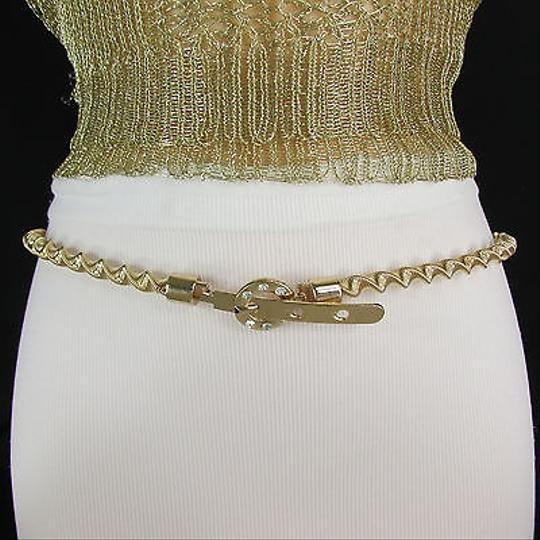 Other Women Narrow Twisted Metal Fashion Belt Gold Silver Waist 27-43