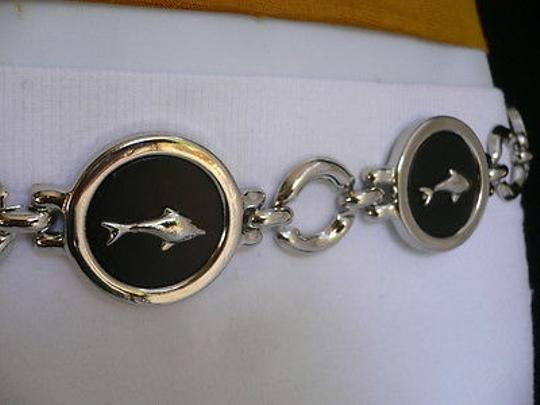 Other Women Hip Silver Black Dolphin Thin Metal Fashion Belt 22-36