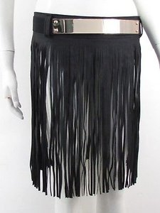Women Gold Metal Long Faux Leather Fringes Skirt Black Belt Gold Plate